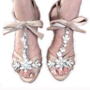 Rhinestone Bow Princess Open Toe Heels